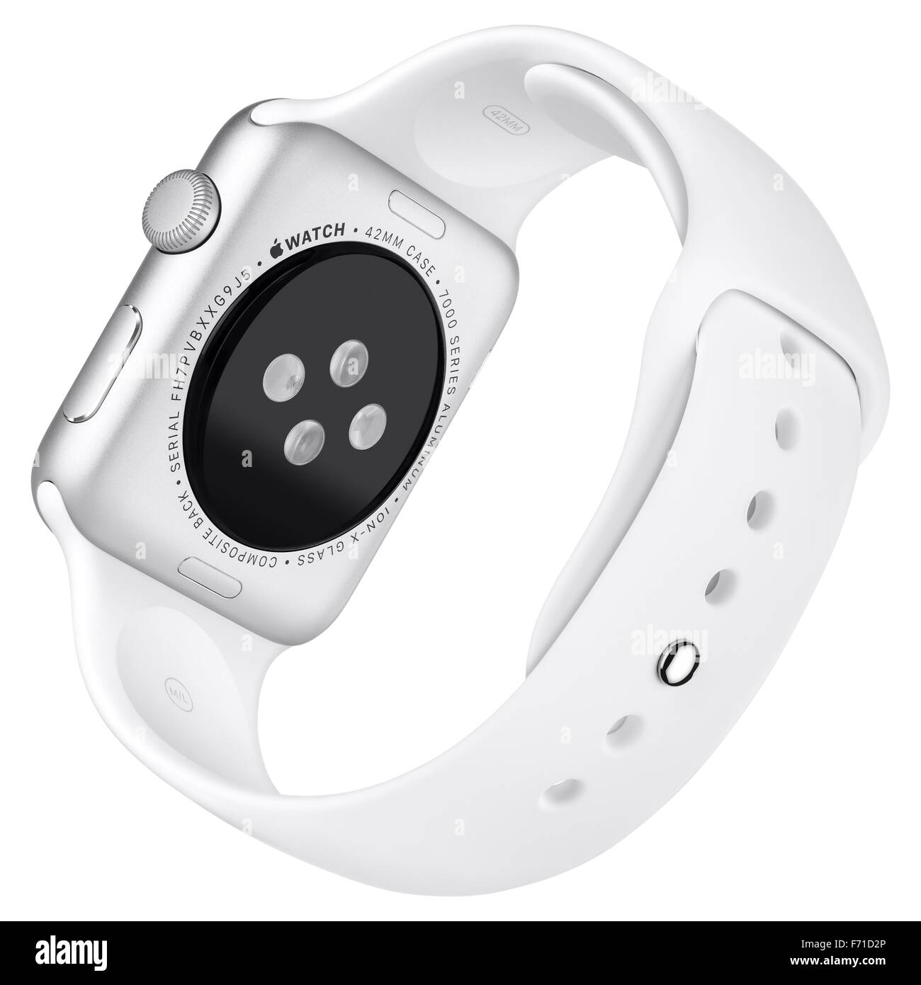 Varna, Bulgaria - October 16, 2015: Apple Watch Sport 42mm Silver Aluminum Case with White Sport Band. Back view - Stock Image