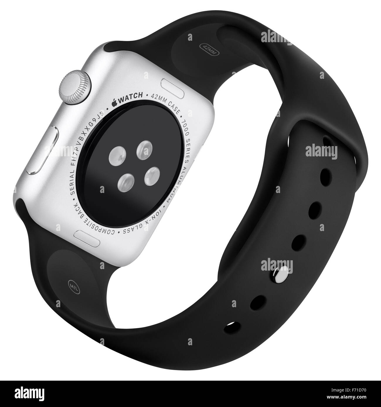 Varna, Bulgaria - October 16, 2015: Apple Watch Sport 42mm Silver Aluminum Case with Black Sport Band. Back view - Stock Image