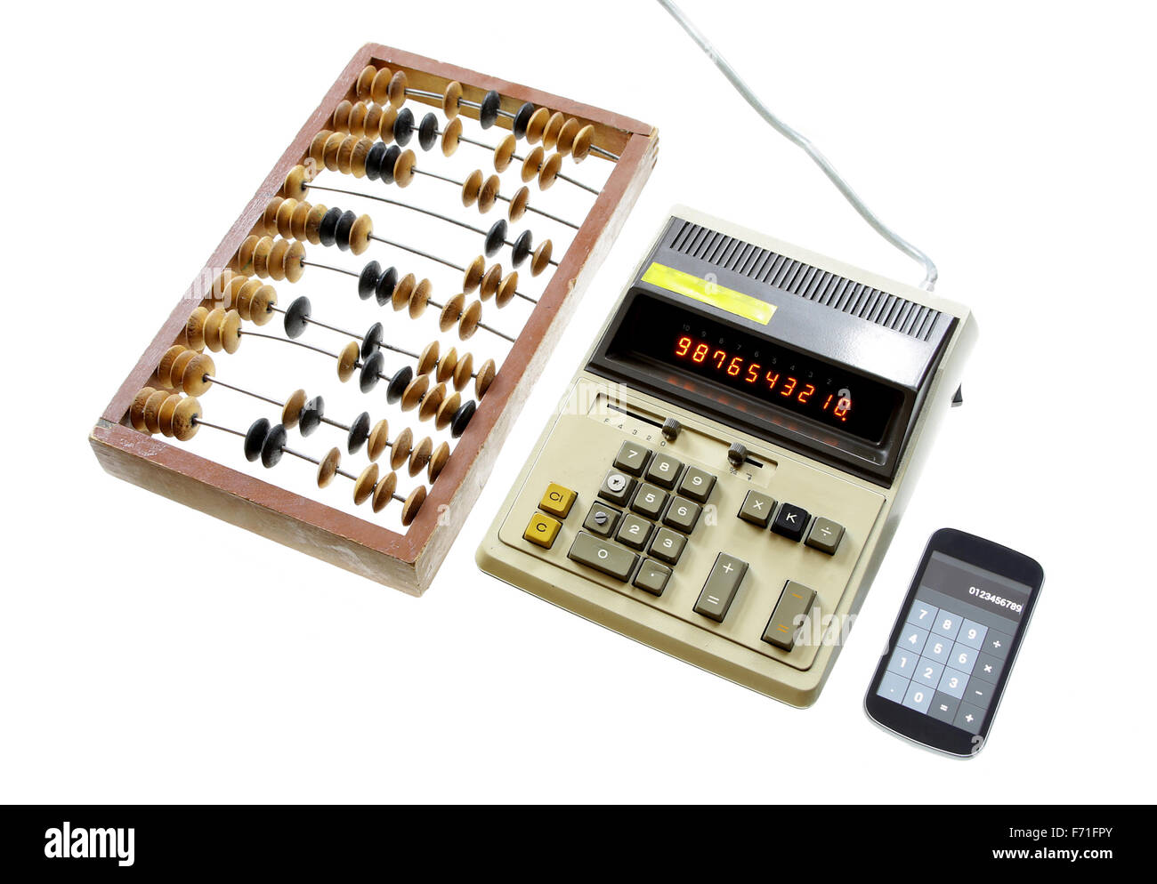 evolution of calculation abacus vintage calculator and modern gadget isolated on white background - Stock Image
