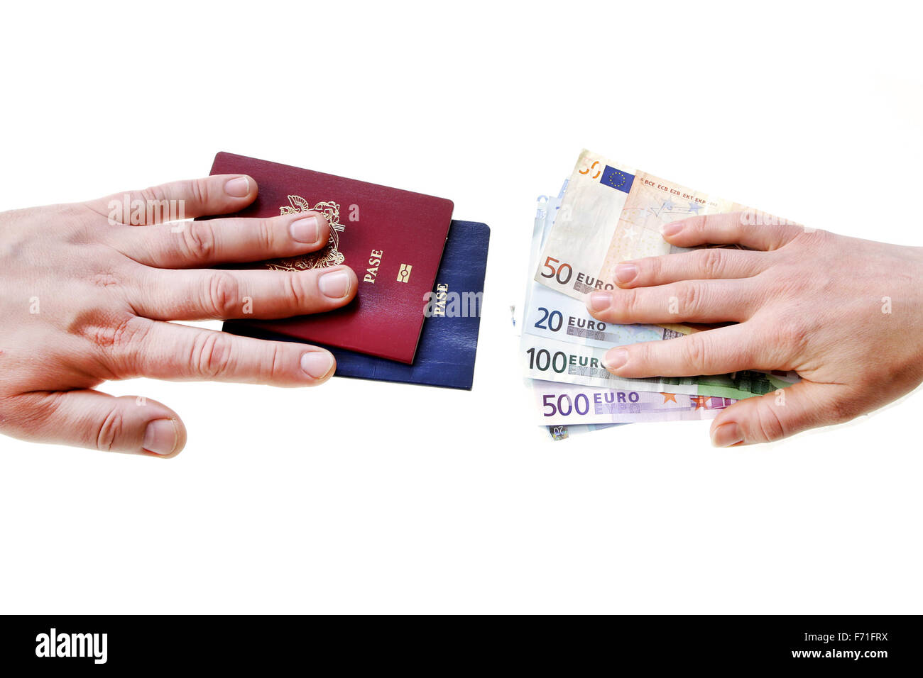 buying illegal foreign passport hands exchanging money and documents buyer seller isolated on white - Stock Image