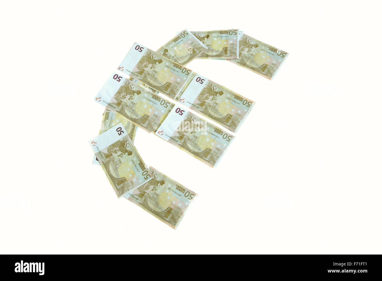 euro sign symbol made of banknotes greenback paper money isolated on white - Stock Image