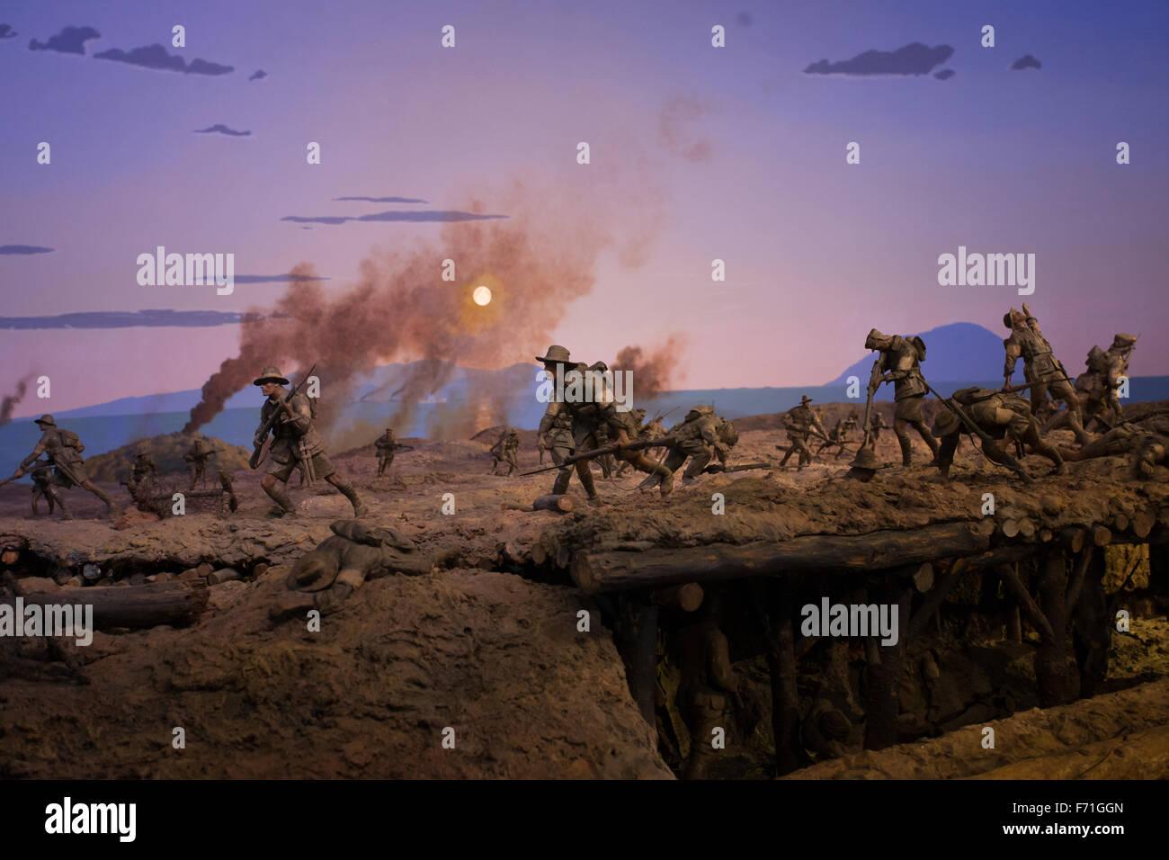 battle scene recreation - Stock Image