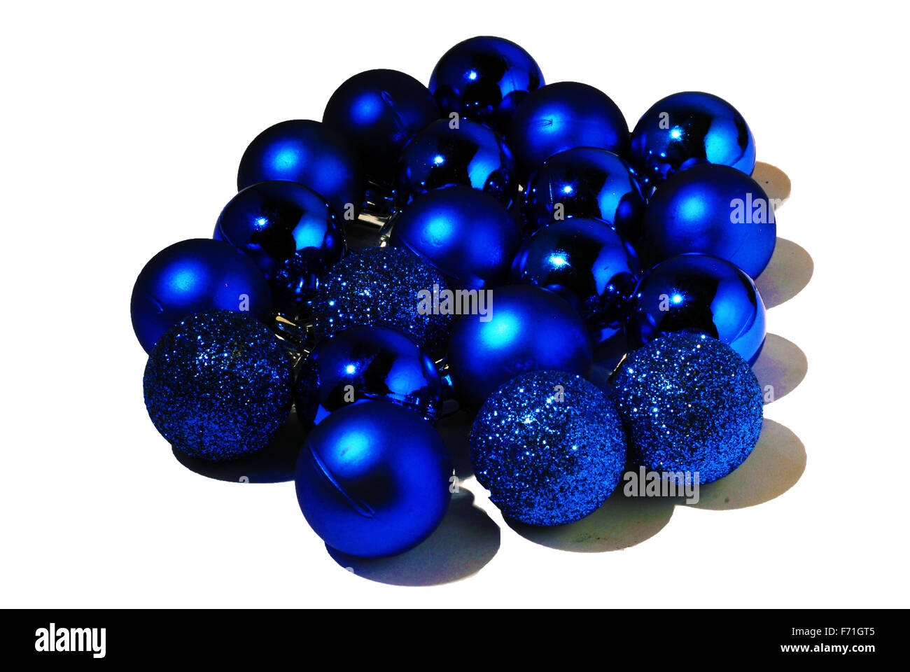 blue,christmas balls,sparkly,sparkle,glass ball, - Stock Image
