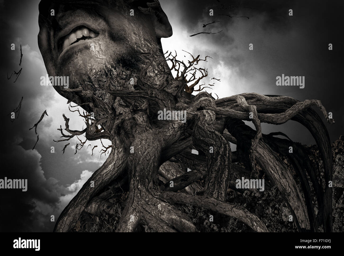Suffering and pain concept as a tree and roots shaped as a human experiencing intense torture and mental agony as - Stock Image