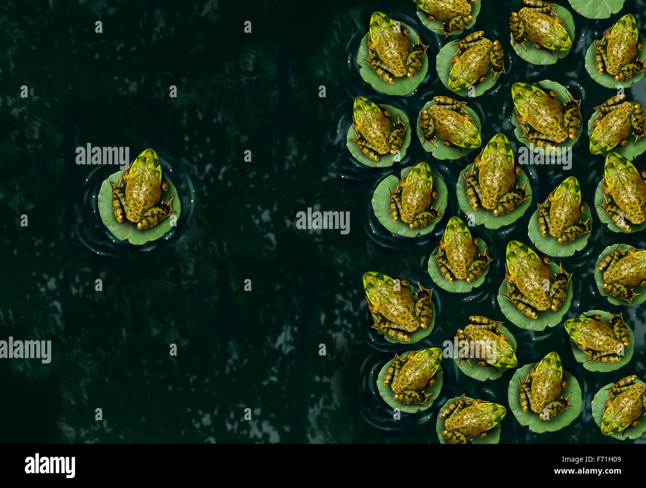 Individualism and confidence or individuality symbol and independent thinker concept as a group of green frogs resting - Stock Image