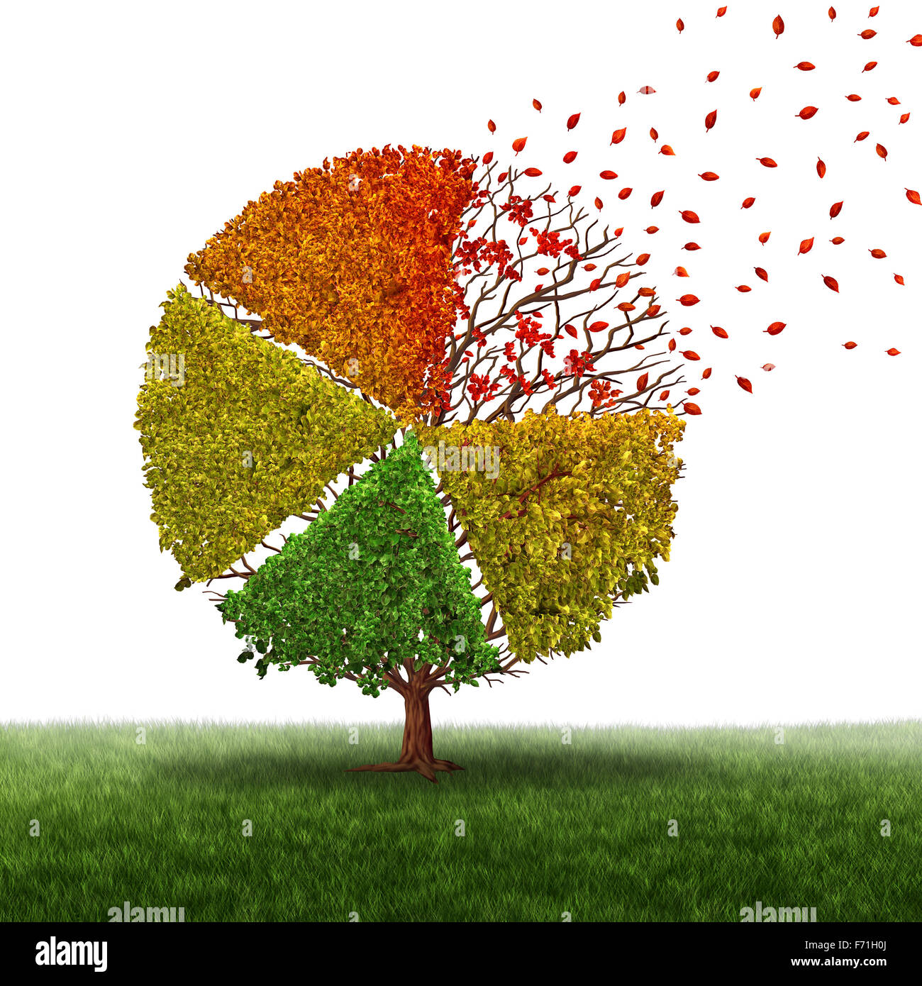 Corporate change and changing market concept and losing business pie chart as an aging green tree with leaves turning - Stock Image