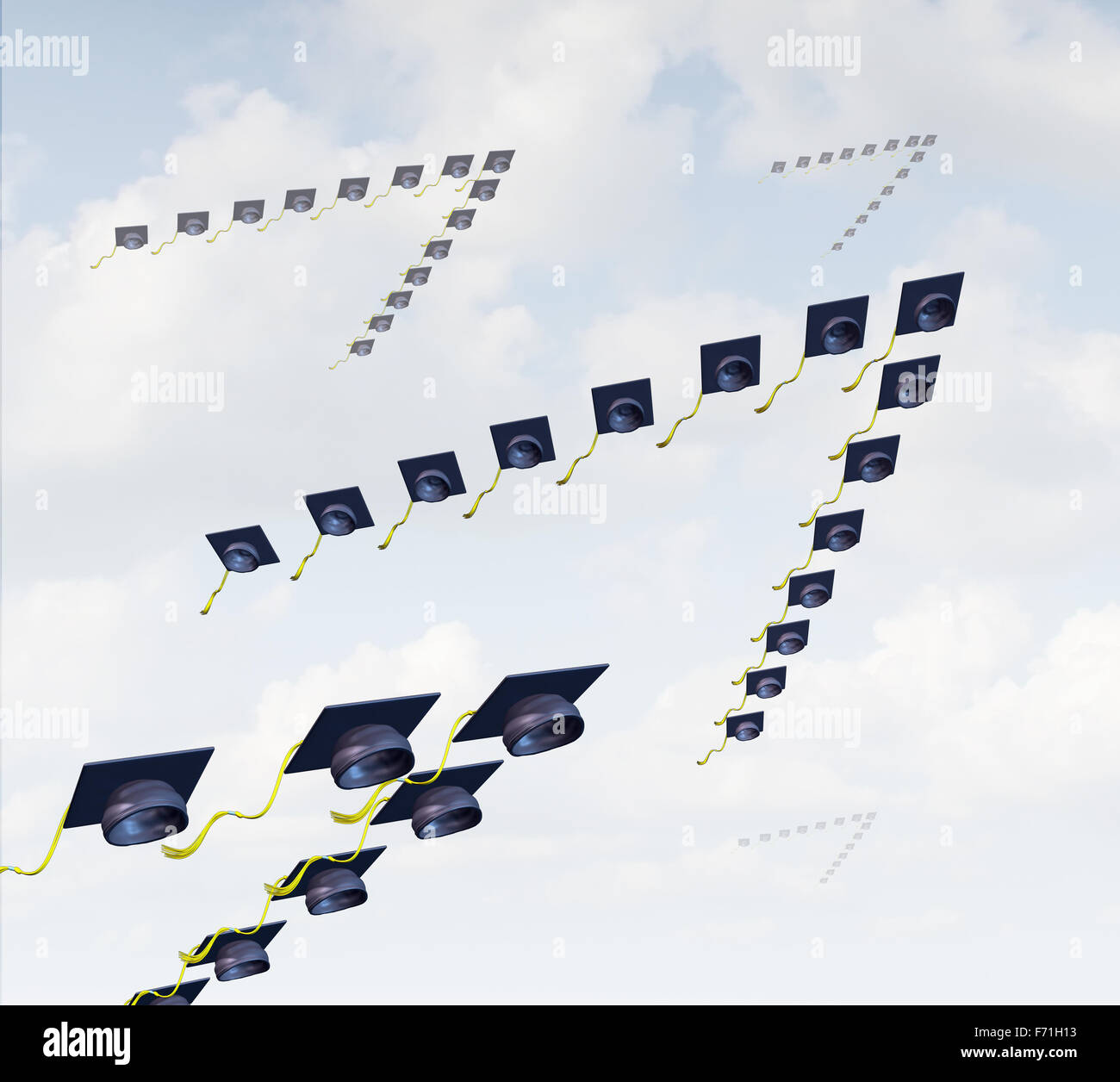 Student migration and global higher education concept as a group of graduation hats or mortar boards shaped as a Stock Photo