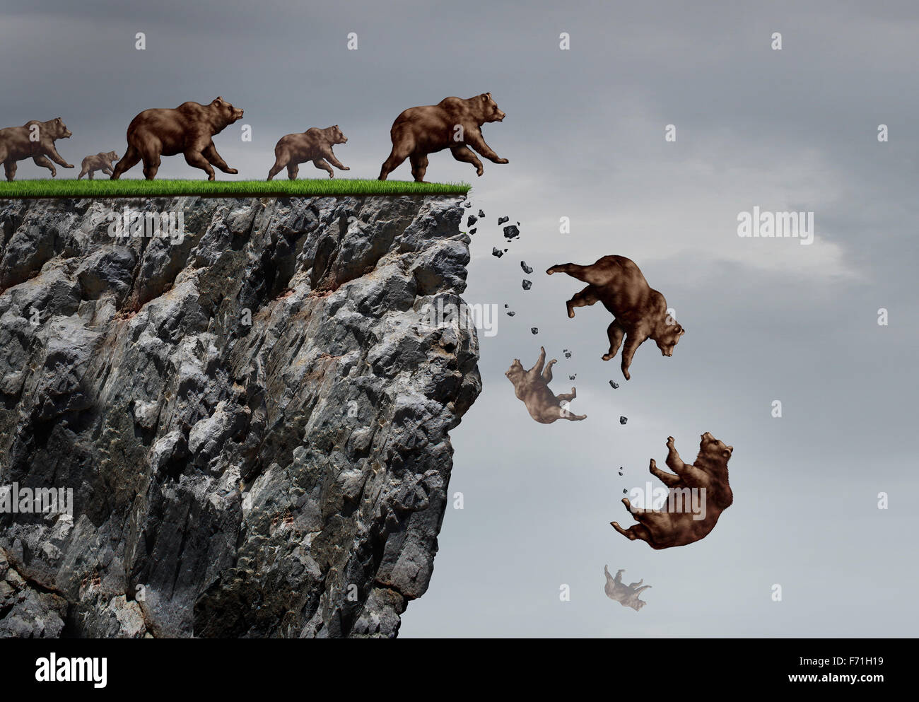 Falling bear market financial decline business and plummeting finance concept for losing investment and value taking - Stock Image