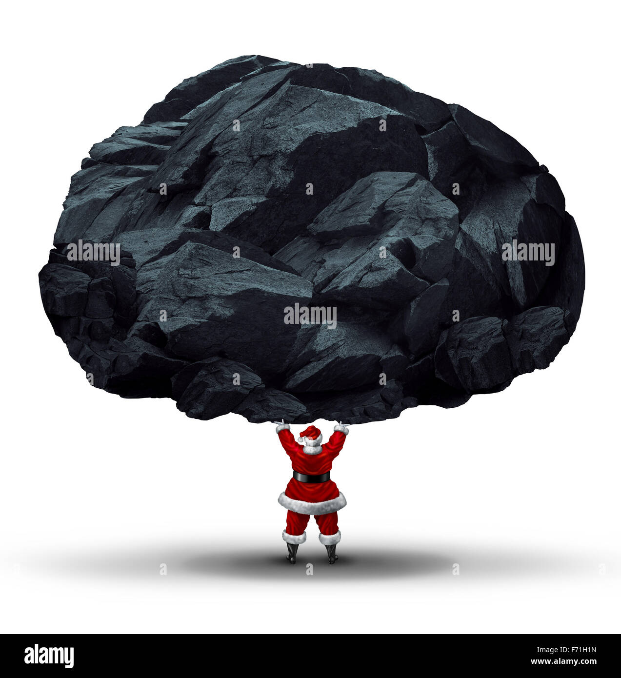 Lump of coal symbol as a punishment gift or present for the naughty given by santa clause as a huge chunk of mineral - Stock Image