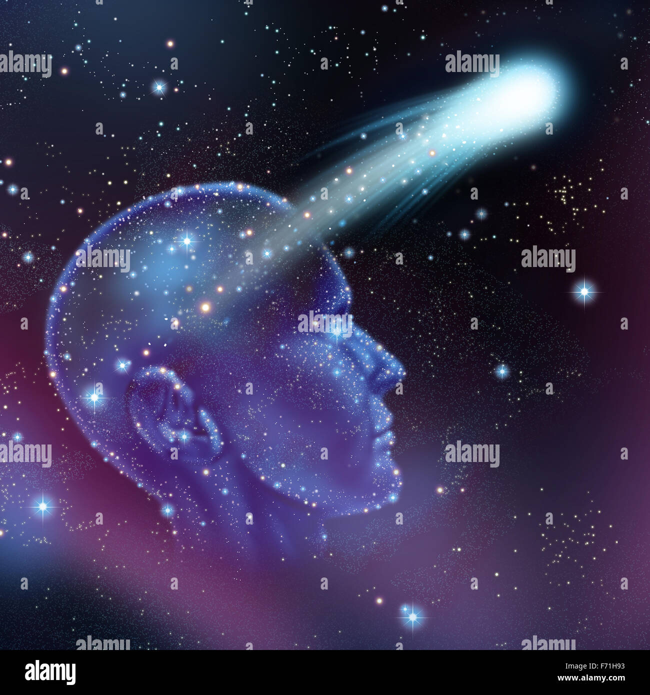 Dreams and imagination concept as a group of stars on a night sky shaped as a human head with a shooting star flying - Stock Image