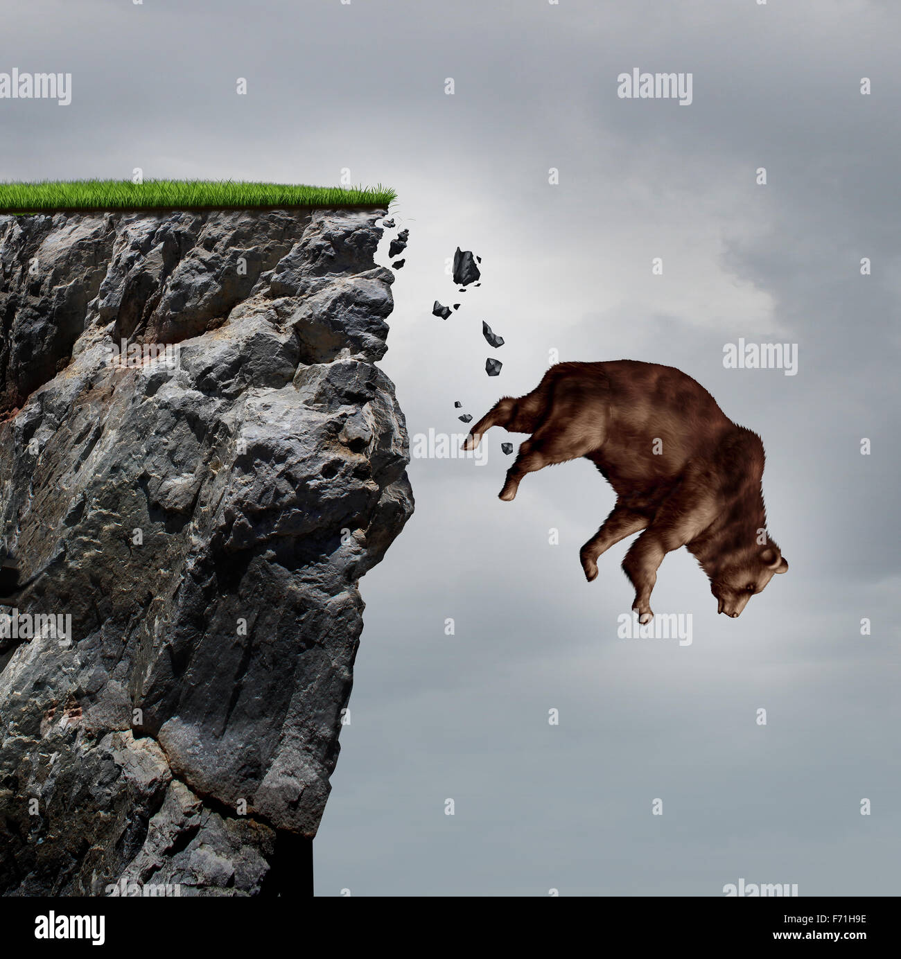 Falling bear market financial decline business and plummeting finance concept for losing investment and value taking Stock Photo