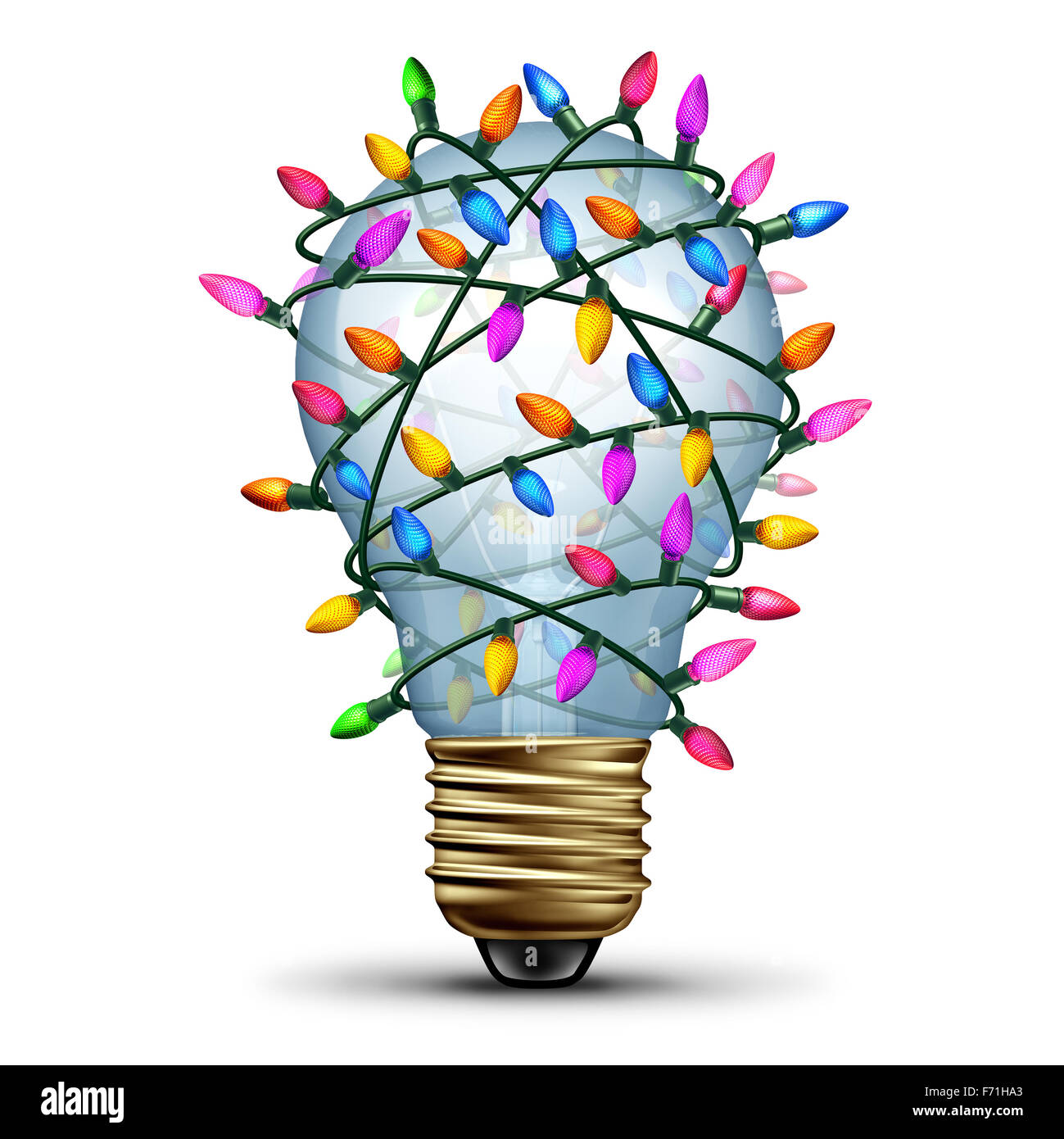 Bright holiday idea winter seasonal concept as a light bulb wrapped with christmas lights as a festive symbol for - Stock Image