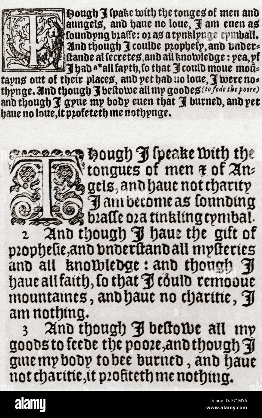 A comparison between Tynedale's Bible, 1528: I Corinthians, chapter 13, 1-3, (top) and Authorised King James Version, Stock Photo