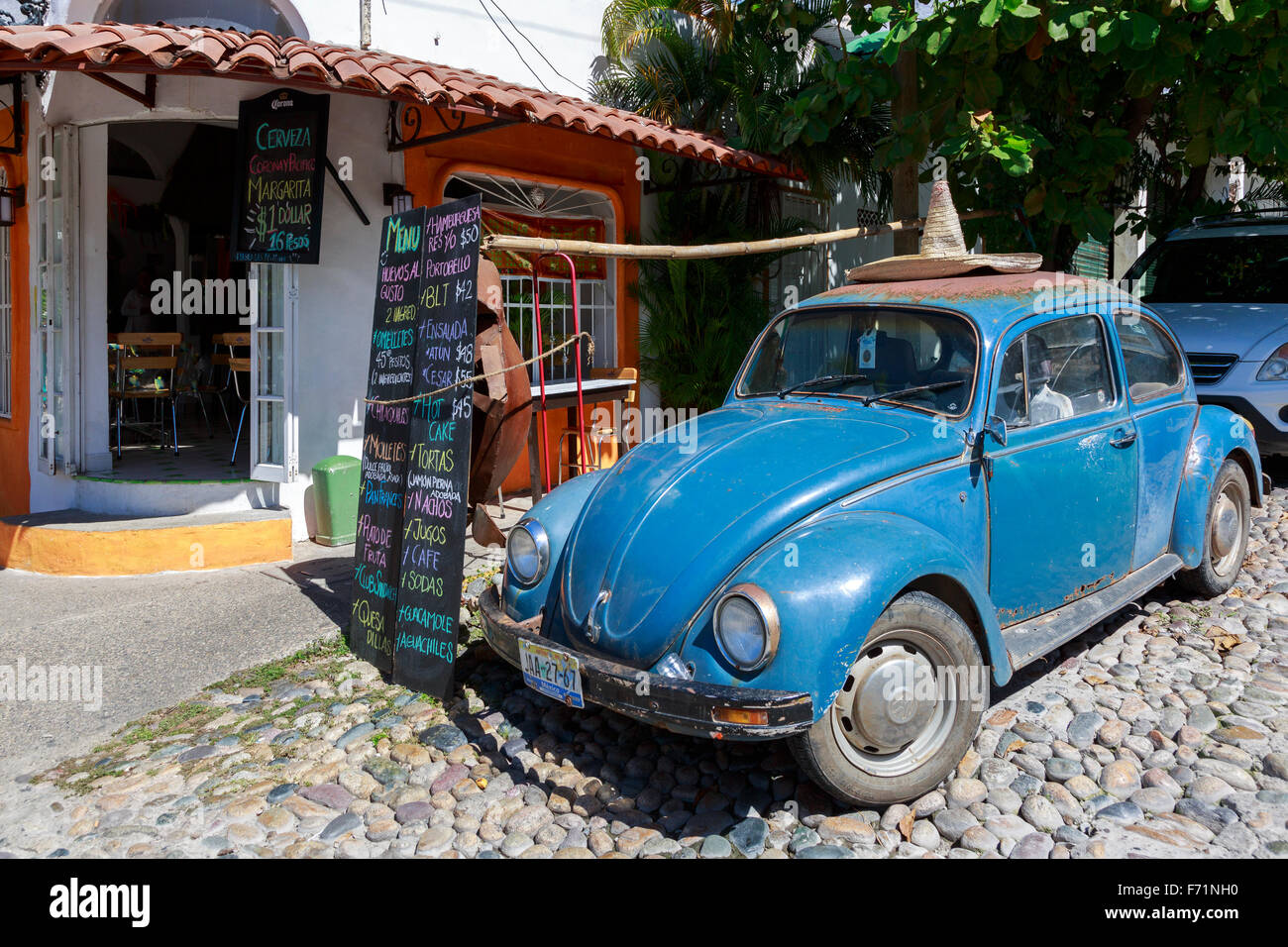 Mexican Cafe Stock Photos Images Alamy Vw Beetle Wiring Diagram Small Styled Bar With A Menu Outside And An Old Volkswagen Wearing