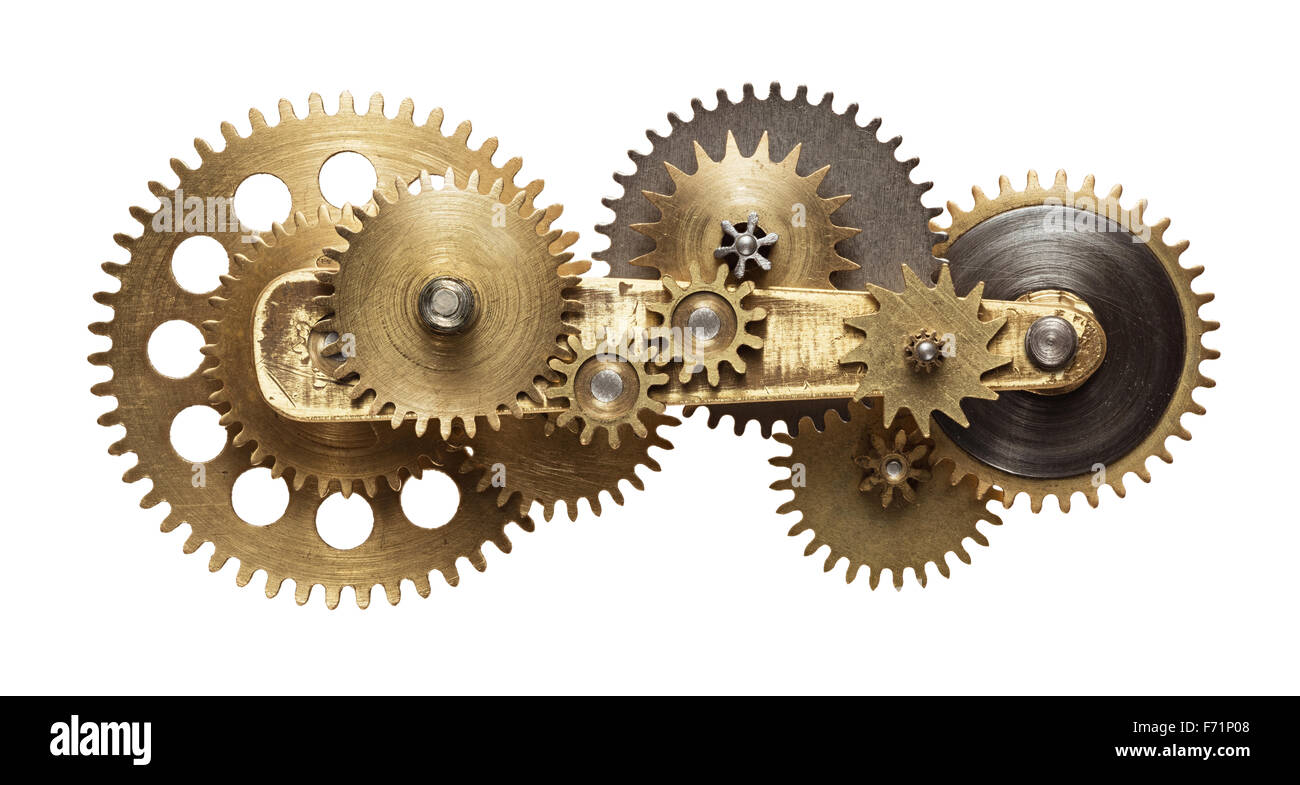 Metal collage of clockwork gears isolated on white background - Stock Image