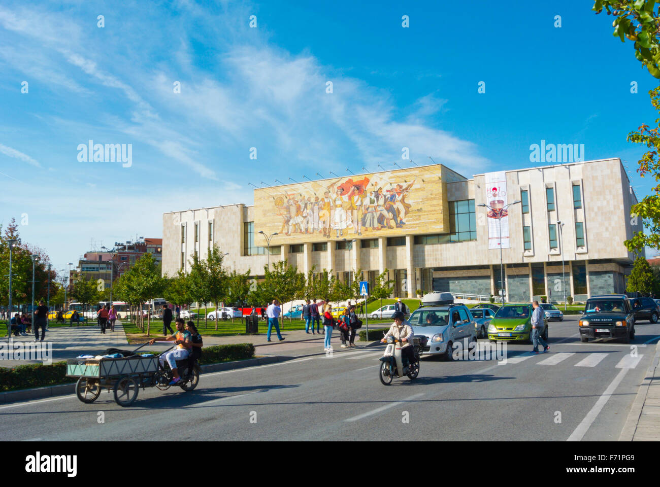 Traffic in front of National History Museum, Sheshi Skenderbej,Skanderbeg square, main square, Tirana, Albania - Stock Image