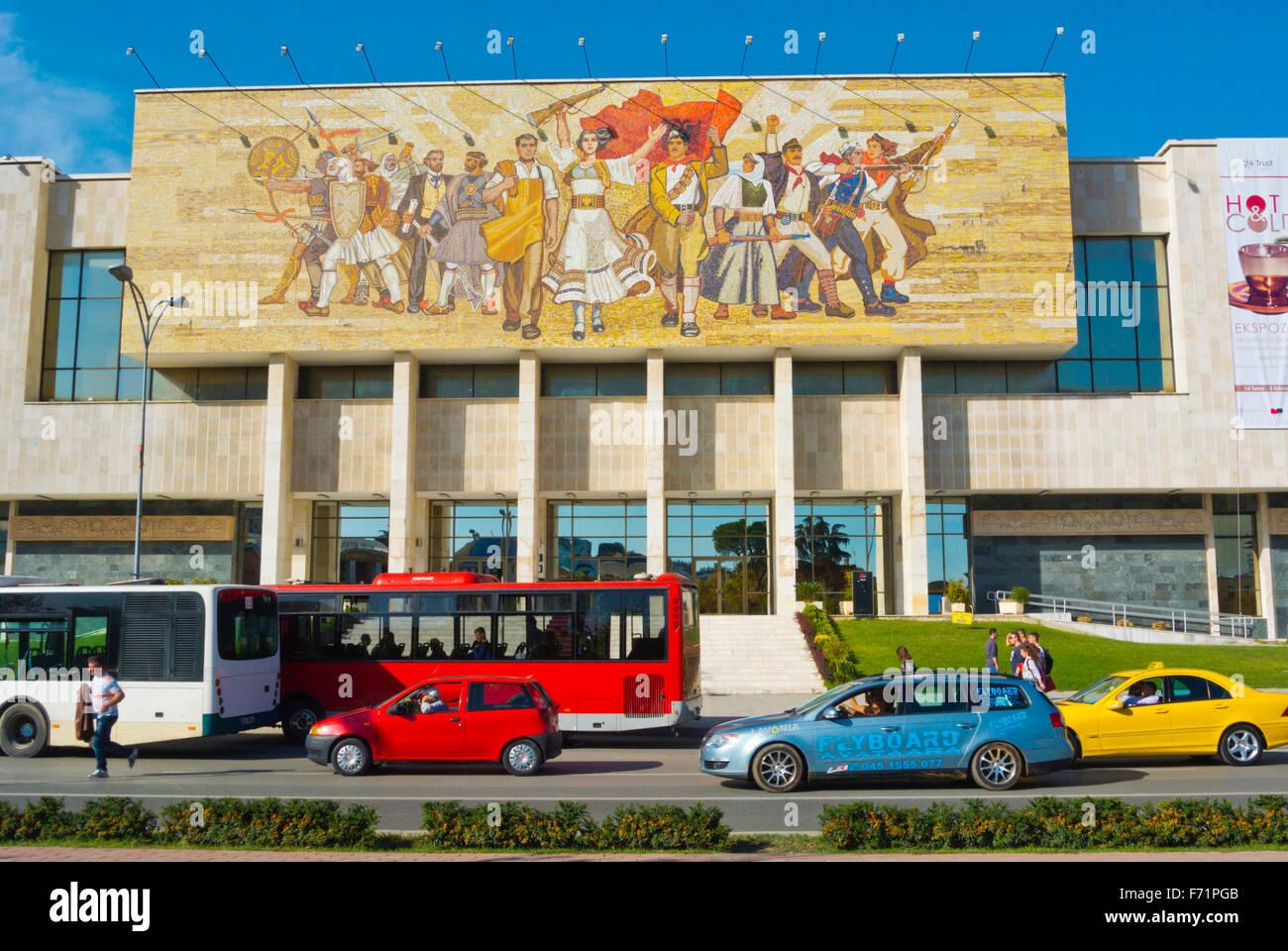 Muzeu Historik Kombetar, National History Museum, Sheshi Skenderbej,Skanderbeg square, main square, Tirana, Albania - Stock Image