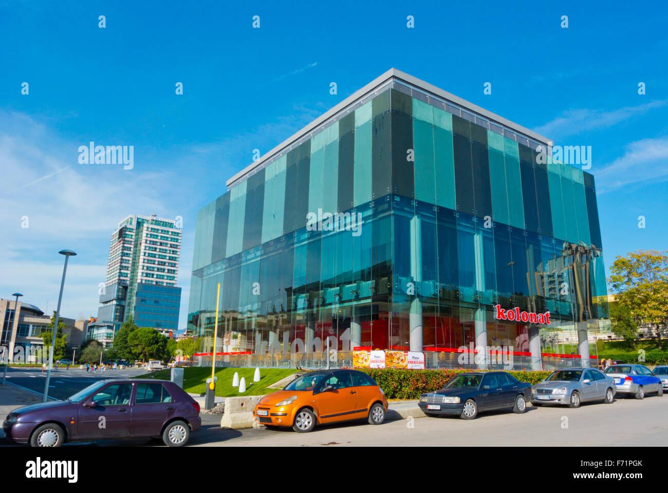 Kolonat restaurant complex, next to the stadium, Tirana, Albania - Stock Image