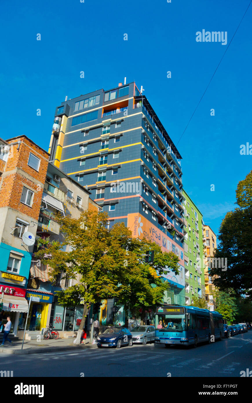 Rruga Abdyl Frasheri street, with Vesa center spa, Blloku district, Tirana, Albania - Stock Image