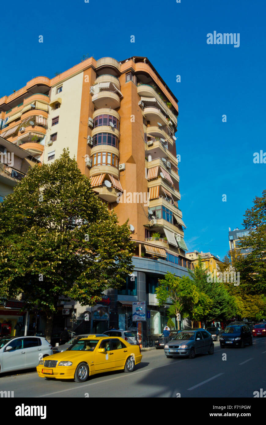Rruga Abdyl Frasheri street, Blloku district, Tirana, Albania Stock Photo