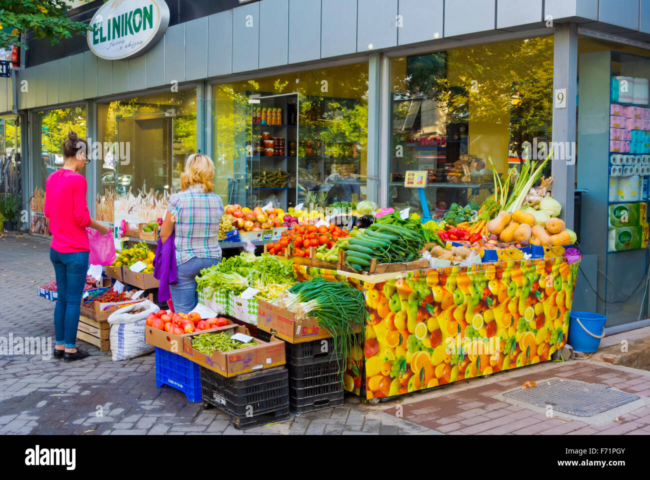 Fresh produce stall, Blloku district, Tirana, Albania - Stock Image