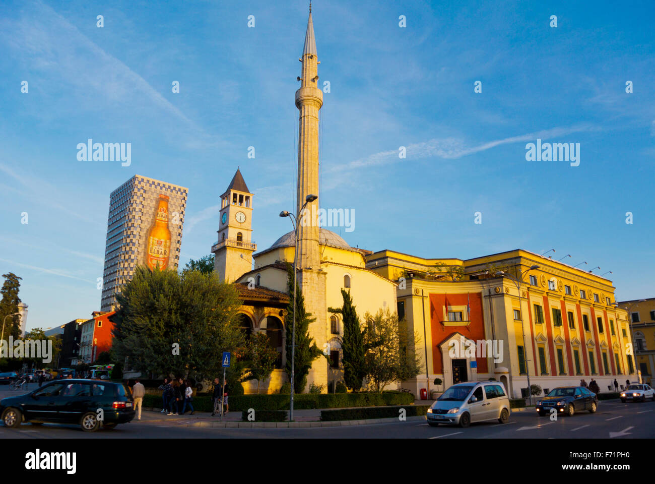 Xhamia e Et'hem Beut mosque, town hall, and clock tower, Sheshi Skenderbej,Skanderbeg square, Tirana, Albania - Stock Image