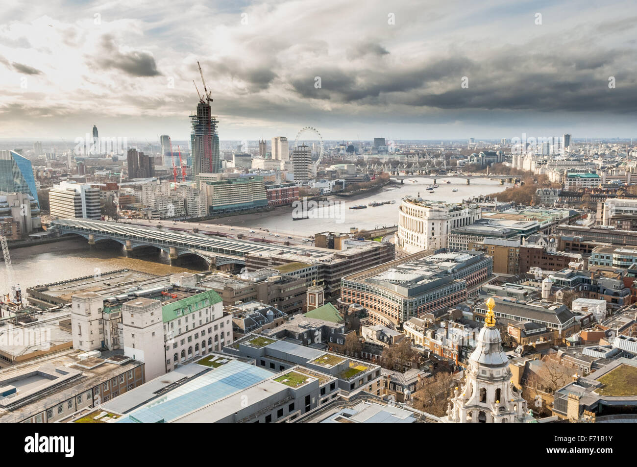 The view from St. Paul's Cathedral looking west across London over The River Thames including London landmarks - Stock Image