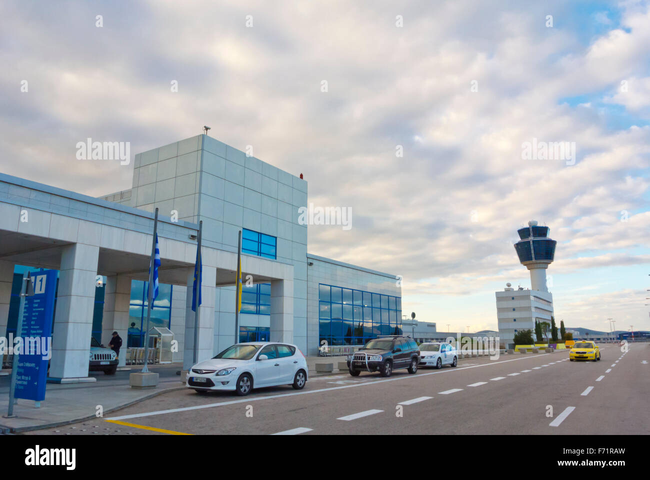 Terminal and air traffic control tower, Athens international airport, Eleftherios Venizelos, Athens, Greece - Stock Image