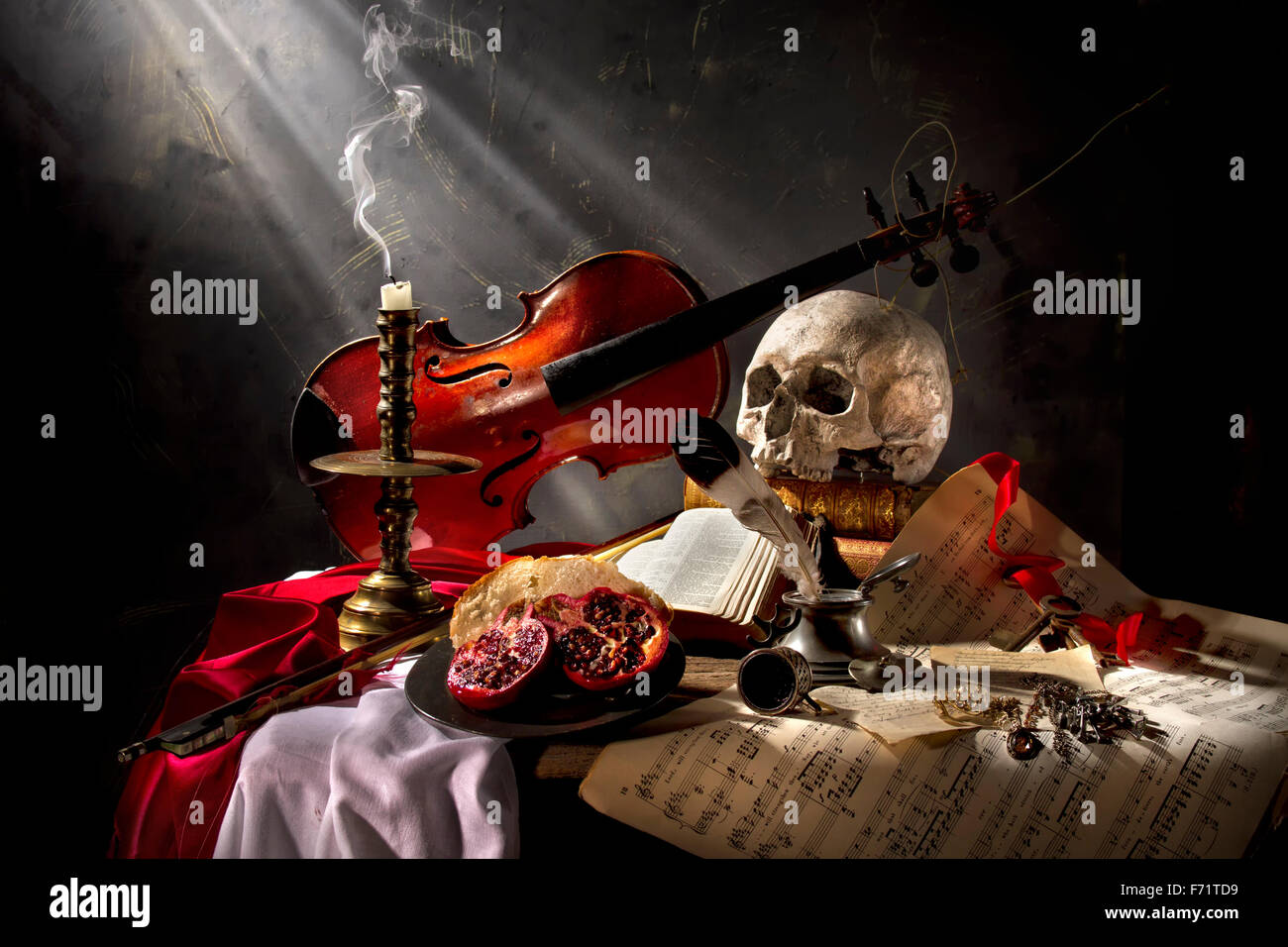 Silent Harmony - Vanitas still life composition Stock Photo