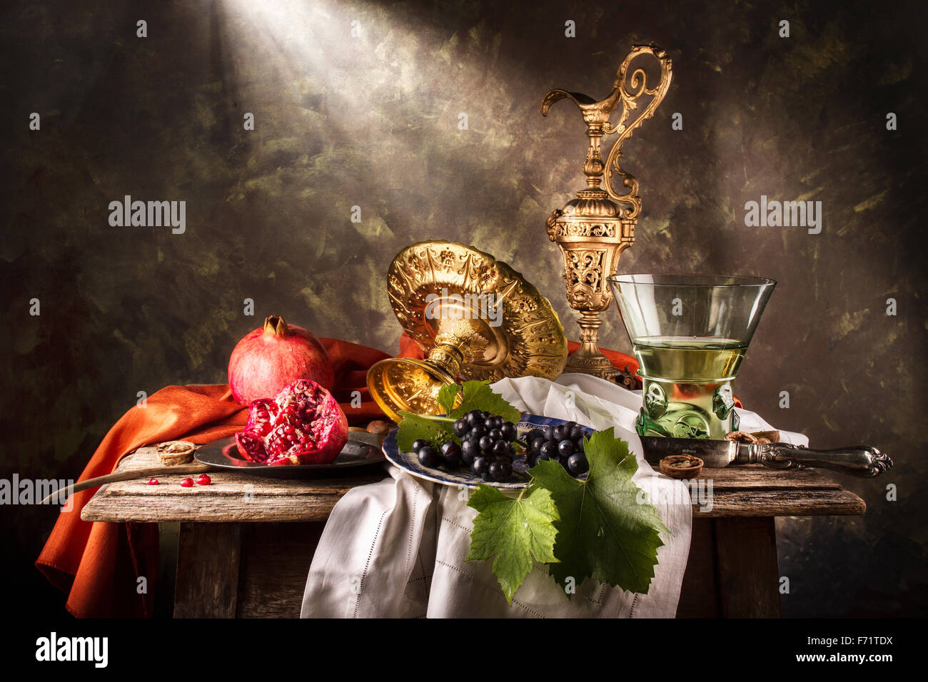 20141015 - Still Life with Berkermeyer & Pomegranates Stock Photo