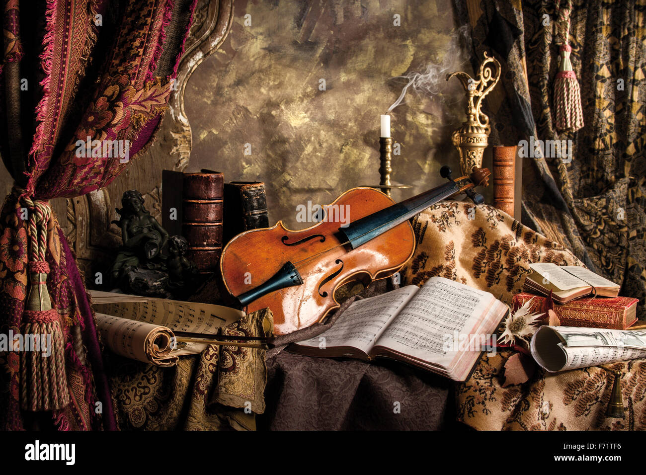 The Silence -  Still life composition with broken violin and sheet music Stock Photo