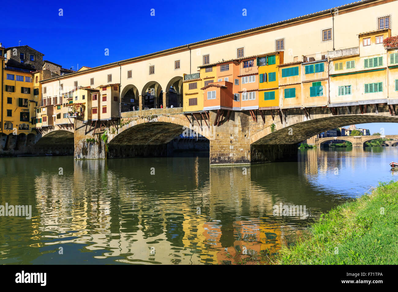 Ponte Vecchio over Arno river in Florence, Italy - Stock Image