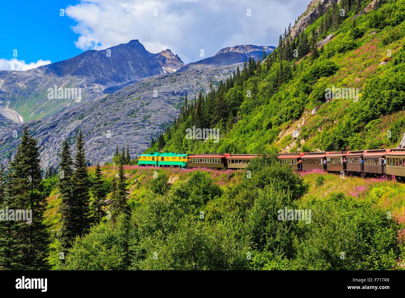 The scenic White Pass & Yukon Route Railroad. Skagway, Alaska - Stock Image