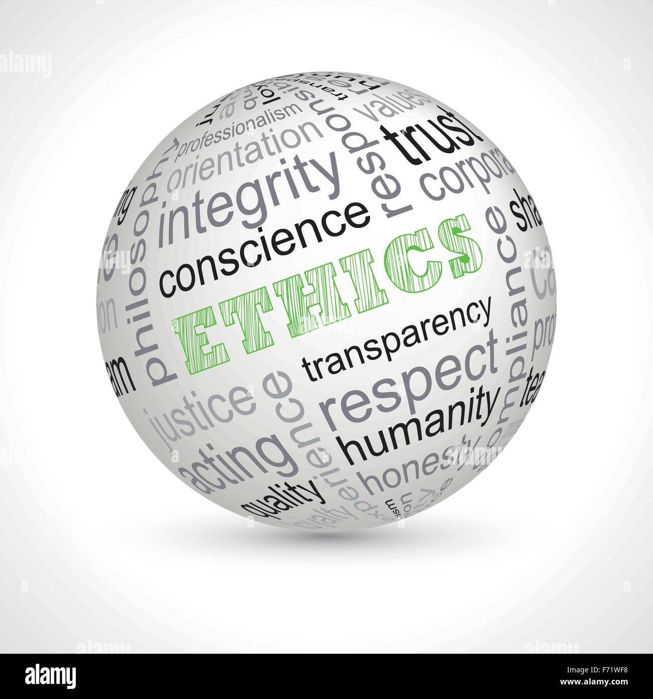 Ethics theme sphere with keywords full vector - Stock Image