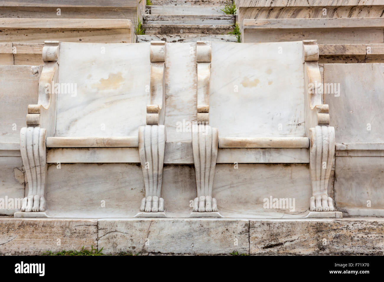 Royal boxes used in 1896, Panathenaic Stadium, original modern day Olympic Stadium, Athens, Greece Stock Photo