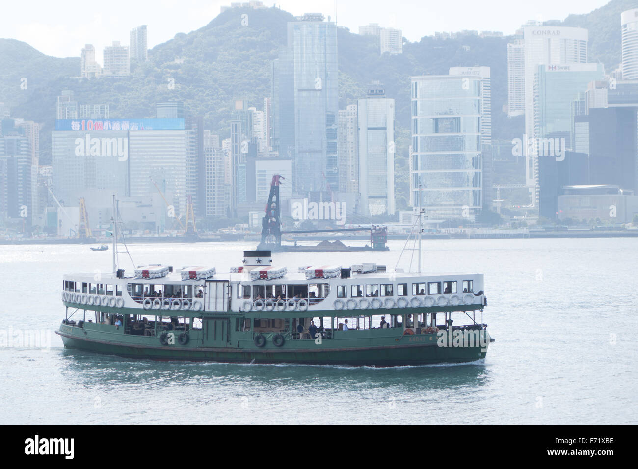 hong kong star ferry on victoria harbor Stock Photo