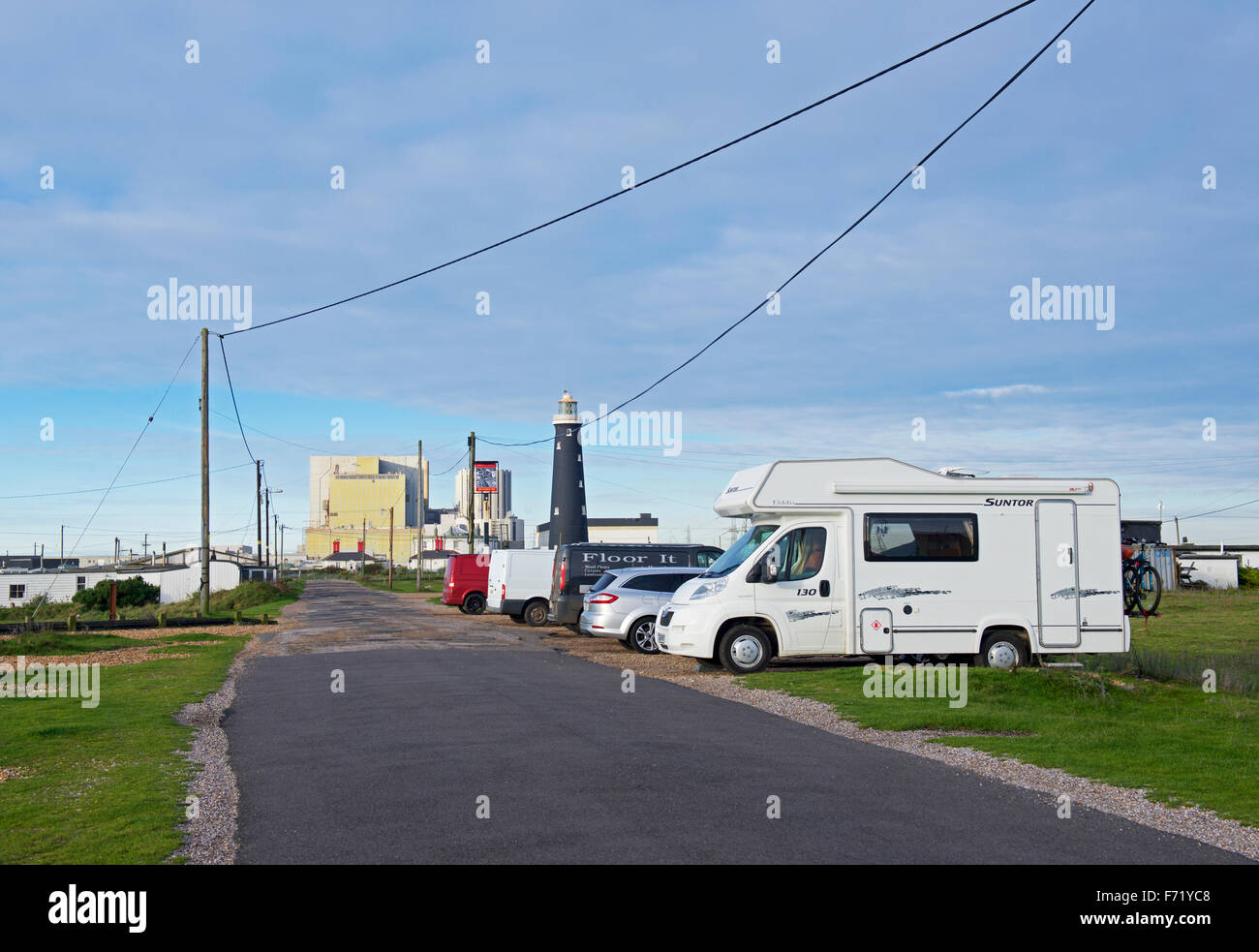 Motorhome parked at Dungeness, with nuclear power station in background, Kent, England UK - Stock Image