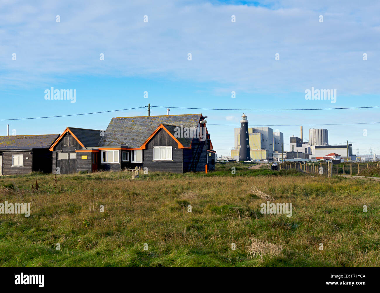Wooden cottage and nuclear power station, Dungeness, Kent, England UK - Stock Image