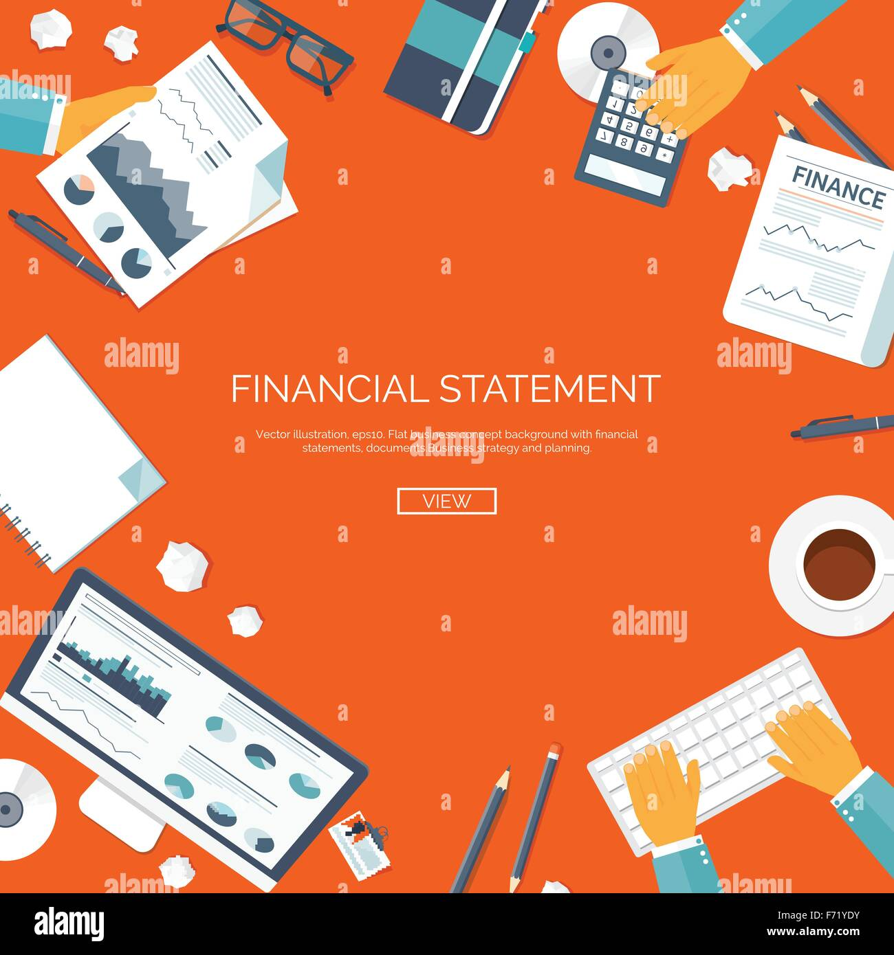 Vector illustration. Financial statement and daily report. Money ...