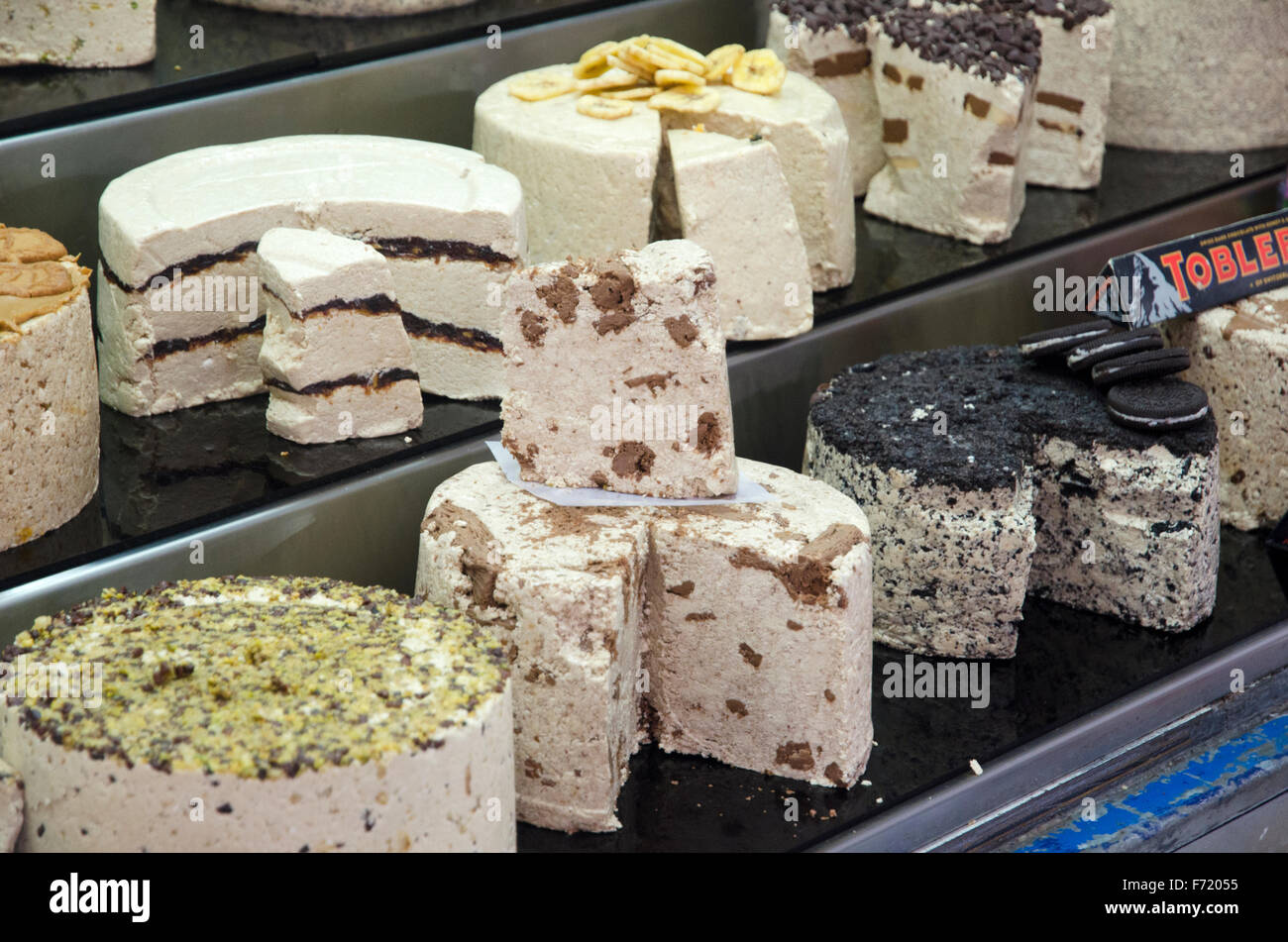 Confections stand at Mahane Yehuda Market, Jerusalem - Stock Image