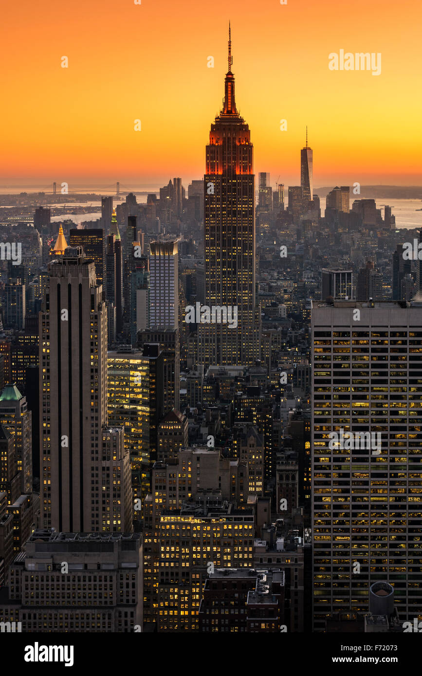 Midtown Manhattan skyline at sunset, New York, USA - Stock Image
