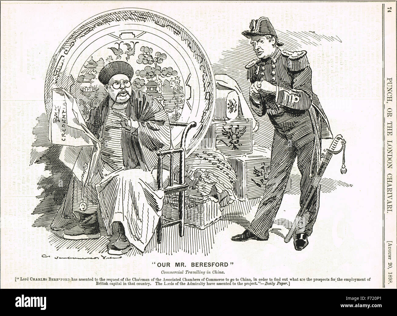 1898 Punch Cartoon Lord Beresford China - Stock Image
