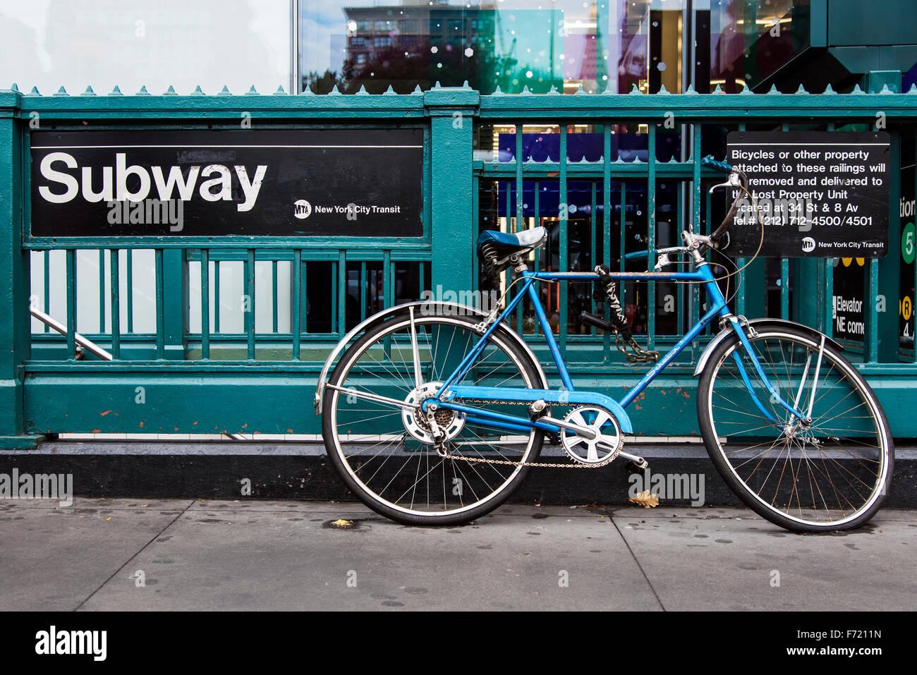 Entrance of Subway station, Manhattan, New York, USA - Stock Image