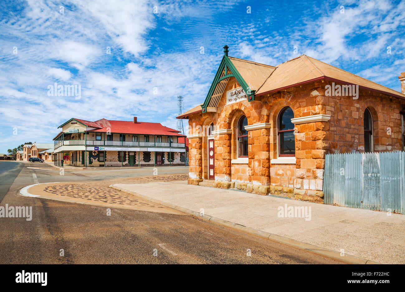 Australia, Western Australia, Mid West, Murchison Region, gold rush town of Cue, view of the former Bank of New - Stock Image