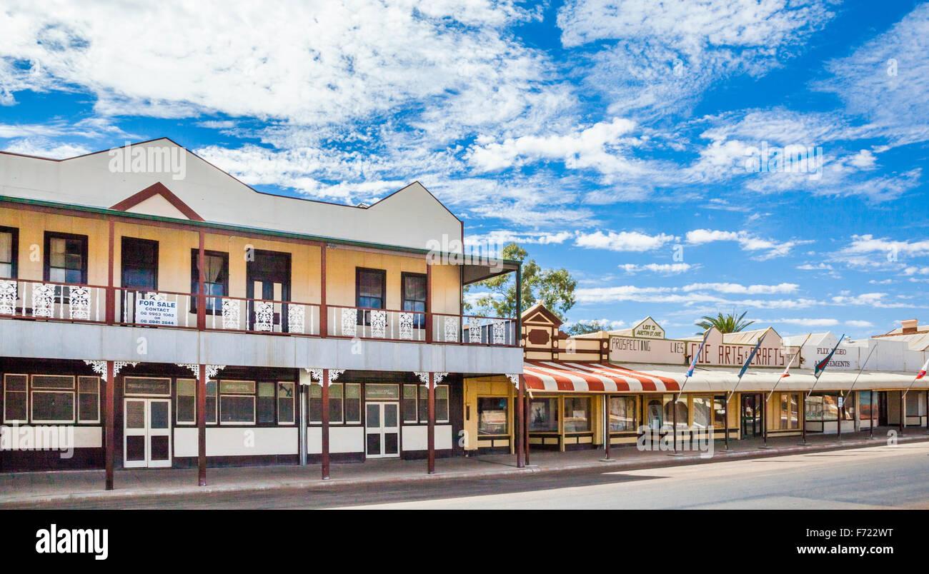 Australia, Western Australia, Mid West, Murchison Region, Cue, arcaded shop fronts of historic goldrush buildings - Stock Image