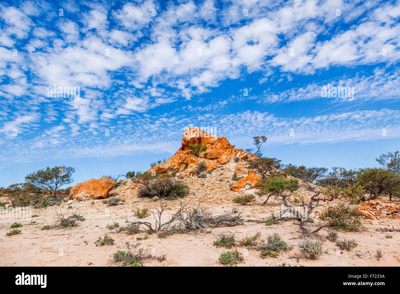 colourful rock outcrop at the Granites Reserve near Mount Magnet, Murchison District, Mid West Western Australia - Stock Image