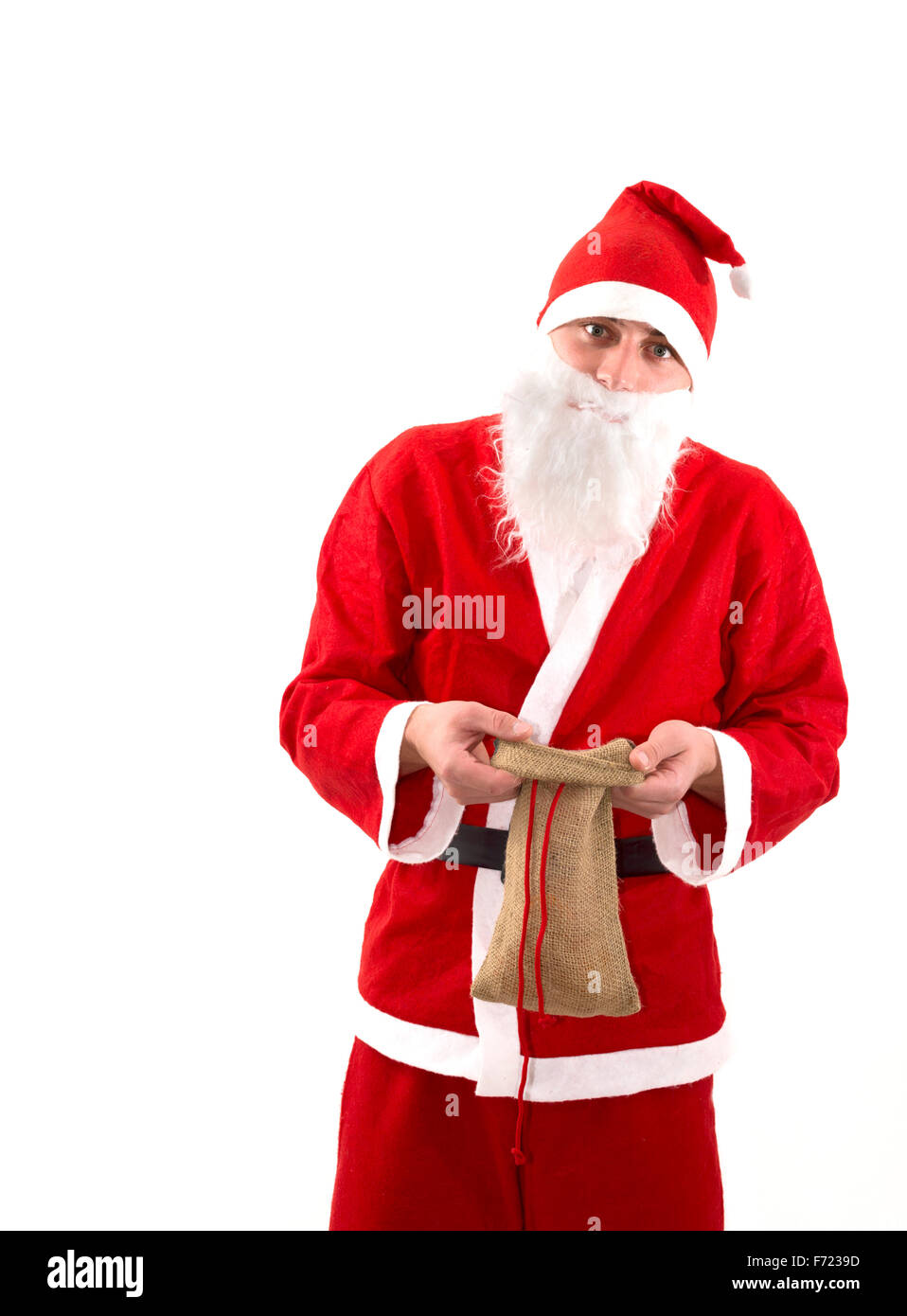 Poor Santa Claus with empty bag - Stock Image