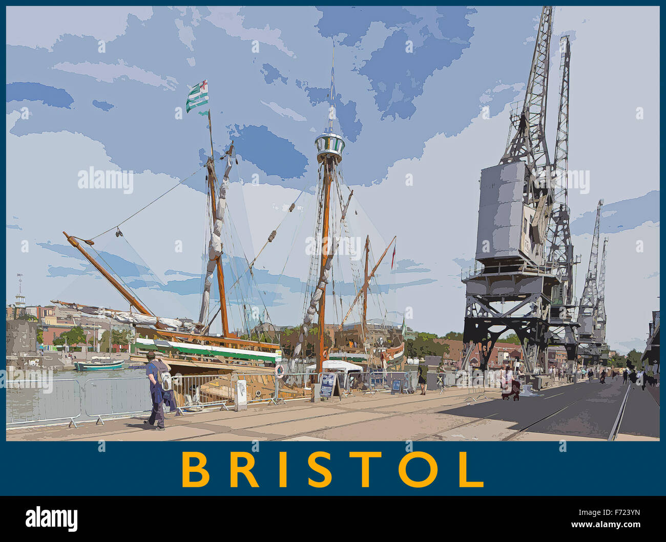 A poster style illustration from a photograph of Bristol Harbour, Bristol, England, UK - Stock Image