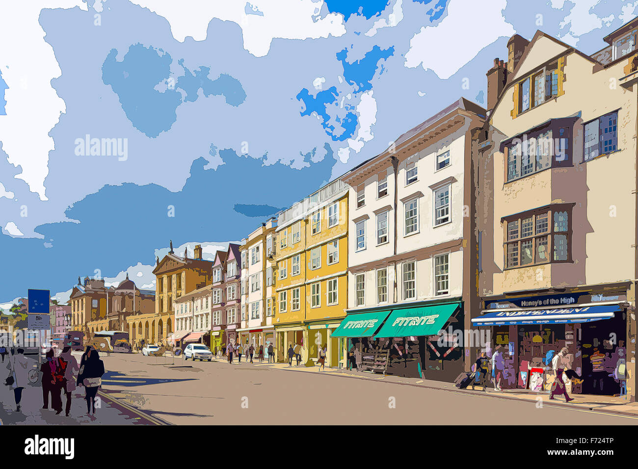 A poster style illustration from a photograph of High Street, Oxford, Oxfordshire, England, UK - Stock Image