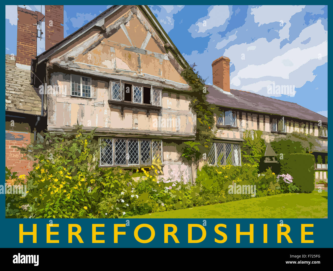 A poster style illustration from a photograph of a timber frames cottage in the village of Pembridge, Herefordshire, Stock Photo